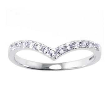 Sparkle Allure Crystal Pure Silver Over Brass Stackable Ring