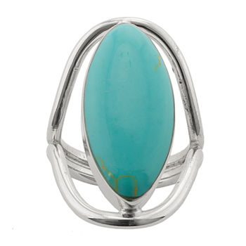 Sparkle Allure Simulated Turquoise Pure Silver Over Brass Oval Cocktail Ring