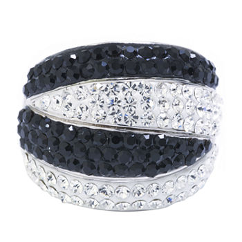 Sparkle Allure Crystal Pure Silver Over Brass Dome Stackable Ring