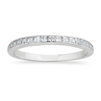 DiamonArt® 2MM 1/4 CT. T.W. White Cubic Zirconia Sterling Silver Round Eternity Wedding Band