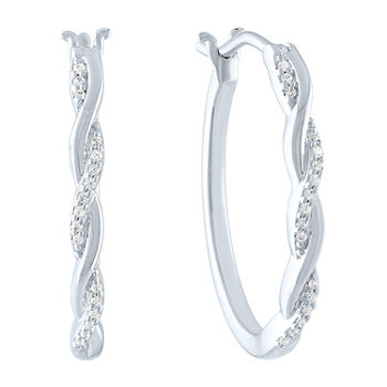 Limited Time Special! 1/10 CT. T.W. Genuine White Diamond Sterling Silver 2.2mm Hoop Earrings