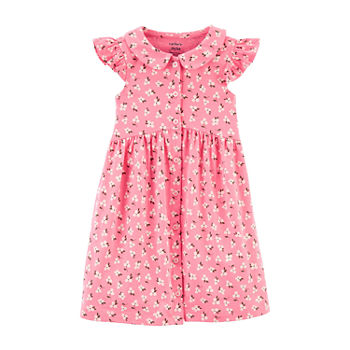 Carter's Toddler Girls Short Sleeve Flutter Sleeve Shirt Dress