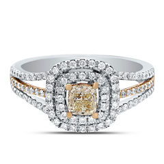 Womens 1 CT. T.W. Genuine Cushion Yellow Diamond 14K Gold Engagement Ring