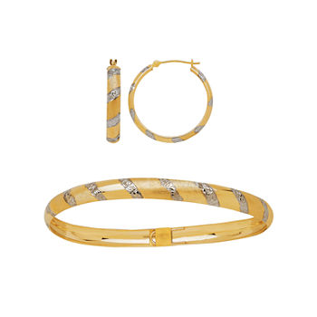 Two-Tone 10K Gold Diamond-Cut Bangle and Hoop Earring Jewelry Set