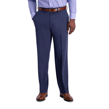 J.M Haggar Sharkskin Classic Fit Flat Front Dress Pant