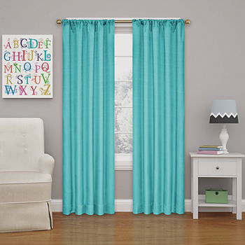 Eclipse Kids Microfiber Energy Saving Blackout Rod-Pocket Single Curtain Panel