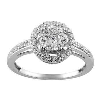 Womens 1/2 CT. T.W. Genuine Diamond 14K White Gold Round Cocktail Ring
