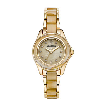 Armitron Womens Crystal Accent Gold Tone Bracelet Watch - 75/5756cmgphn