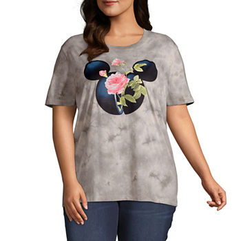 Mighty Fine Spring 20 Tee Womens Juniors Plus Crew Neck Short Sleeve Mickey Mouse T-Shirt