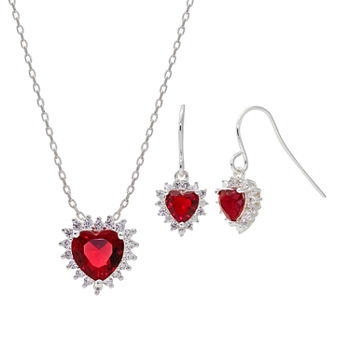 Sparkle Allure Light Up Box 2-pc. Cubic Zirconia Pure Silver Over Brass Heart Jewelry Set