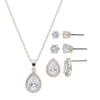 Sparkle Allure Light Up Box 4-pc. Cubic Zirconia Pure Silver Over Brass Pear Jewelry Set