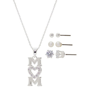Sparkle Allure Mom Light Up Box 4-pc. Cubic Zirconia Simulated Pearl Pure Silver Over Brass Jewelry Set