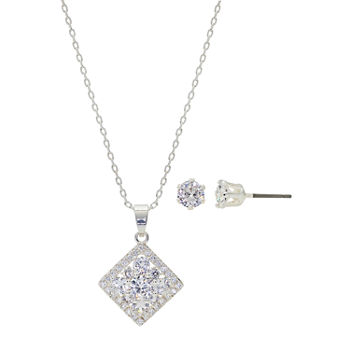 Sparkle Allure Light Up Box 2-pc. Cubic Zirconia Pure Silver Over Brass Square Jewelry Set