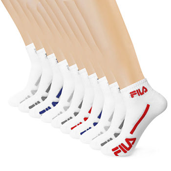 Fila Mens 10 Pair Quarter Socks