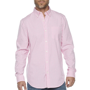 St. John's Bay Stretch Mens Long Sleeve Gingham Button-Down Shirt