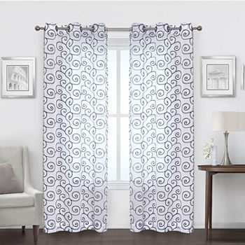 Regal Home Embroidered Swirl Sheer Grommet-Top Set of 2 Curtain Panel