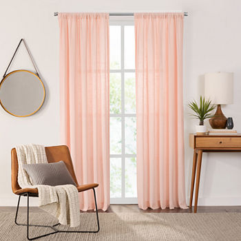 Fieldcrest Arden Solid Cotton Sheer Rod-Pocket Single Curtain Panel