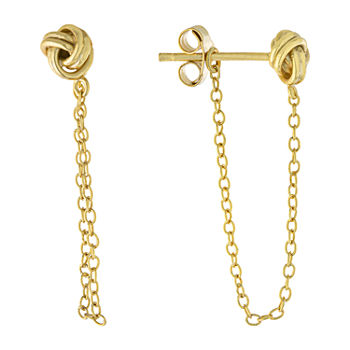 Silver Treasures 14K Gold Over Silver Knot Drop Earrings