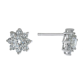 Silver Treasures Cubic Zirconia Sterling Silver 10.2mm Flower Stud Earrings