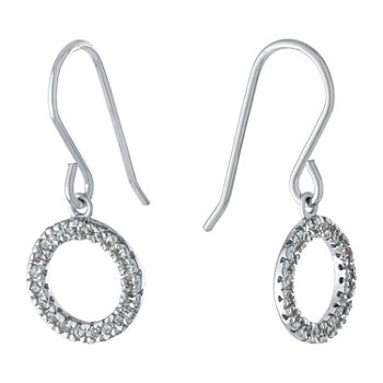 Silver Treasures Cubic Zirconia Sterling Silver Round Drop Earrings
