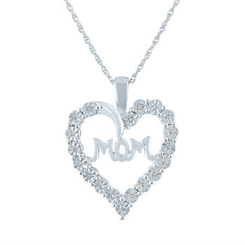 "LIMITED TIME SPECIAL! 1/10 CT. T.W. Diamond ""MOM"" Heart Necklace in Sterling Silver"