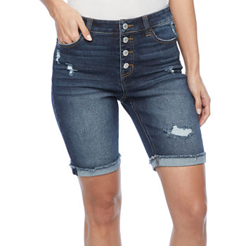 "Vanilla Star Womens Juniors Mid Rise 9"" Bermuda Short"