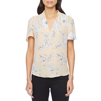 Liz Claiborne Womens V Neck Short Sleeve Blouse