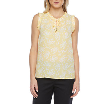 Liz Claiborne Womens Split Tie Neck Sleeveless Blouse