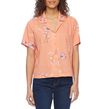 a.n.a Womens Short Sleeve Boxy Fit Button-Down Shirt