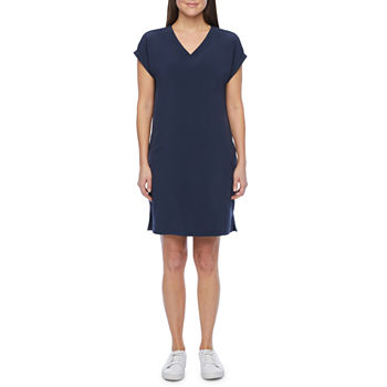 Stylus Short Sleeve High-Low Shift Dress