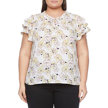 Liz Claiborne-Plus Womens Keyhole Neck Short Sleeve Blouse