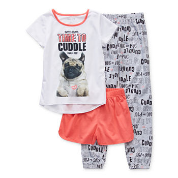 Doug The Pug Big Girls 3-pc. Pajama Set