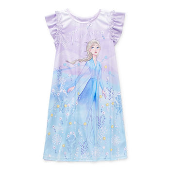 Disney Little & Big Girls Elsa Short Sleeve Crew Neck Nightgown