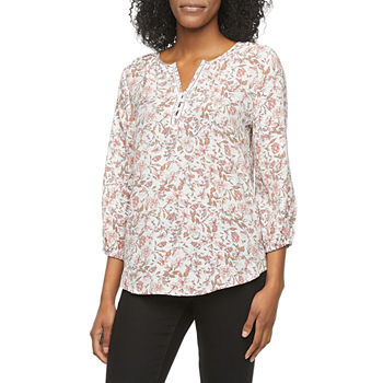 Liz Claiborne Womens Split Crew Neck 3/4 Sleeve Blouse