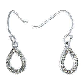 Silver Treasures Cubic Zirconia Sterling Silver Pear Drop Earrings