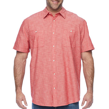 The Foundry Big & Tall Supply Co. Mens Chambray Short Sleeve Button Front Shirt