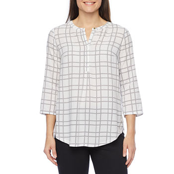 Liz Claiborne Womens Henley Neck 3/4 Sleeve Tunic Top