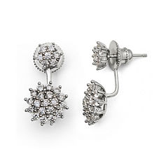 Cubic Zirconia Sterling Silver Starburst Earrings