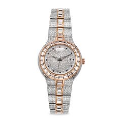 Croton Mens Silver-Tone Crystal Bracelet Watch