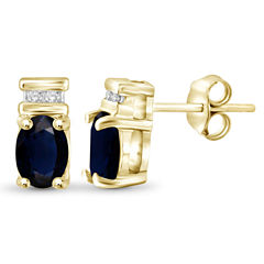 Diamond Accent Oval Blue Sapphire 14K Gold Over Silver Stud Earrings