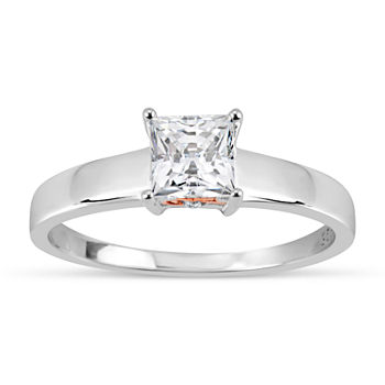 Womens 1 1/7 CT. T.W. White Zirconia Sterling Silver Square Solitaire Cocktail Ring