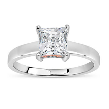 Womens 2 CT. T.W. White Zirconia Sterling Silver Square Solitaire Cocktail Ring
