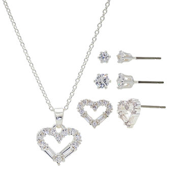 Sparkle Allure Light Up Box 4-pc. Cubic Zirconia Pure Silver Over Brass Heart Jewelry Set