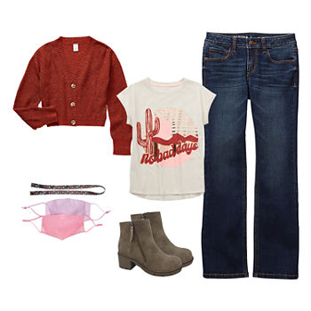 Arizona Little & Big Girls Desert Road Trip Bootcut Jean Outfit
