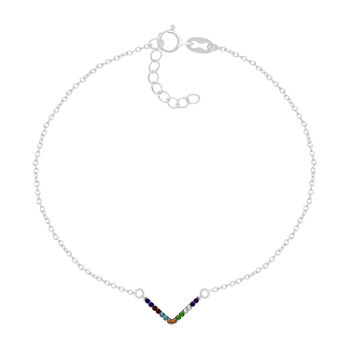 Itsy Bitsy Sterling Silver Cubic Zirconia 9 Inch Cable Ankle Bracelet