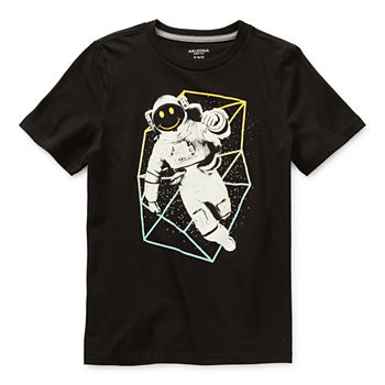 Arizona Little & Big Boys Crew Neck Short Sleeve Graphic T-Shirt