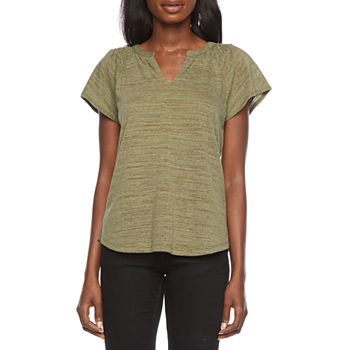 Liz Claiborne Womens Split Crew Neck Short Sleeve Henley Shirt