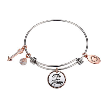 Footnotes Enjoy The Journey Silver Over Brass Stainless Steel Round Bangle Bracelet