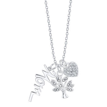 Footnotes Mom Charm Sterling Silver 18 Inch Cable Pendant Necklace