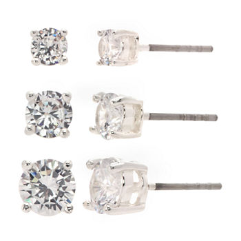 Sparkle Allure Pure Silver Over Brass 3 Pair Cubic Zirconia Earring Set in 4mm, 5mm, 6mm Round